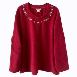 Red Fleece Long Sleeve Sweater with Flowers 2X